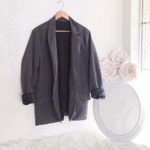 GRAY Over Sized BF Plaid Blazer Double Breasted L